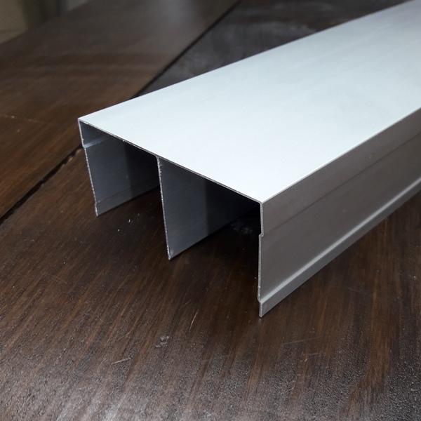 Верхняя рельса для шкафа купе, двойная серебро
