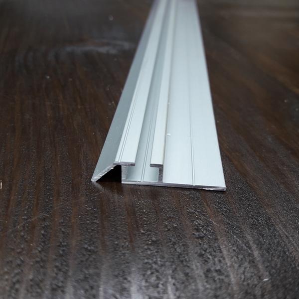 Нижняя монорельса для шкафа купе, одинарная серебро