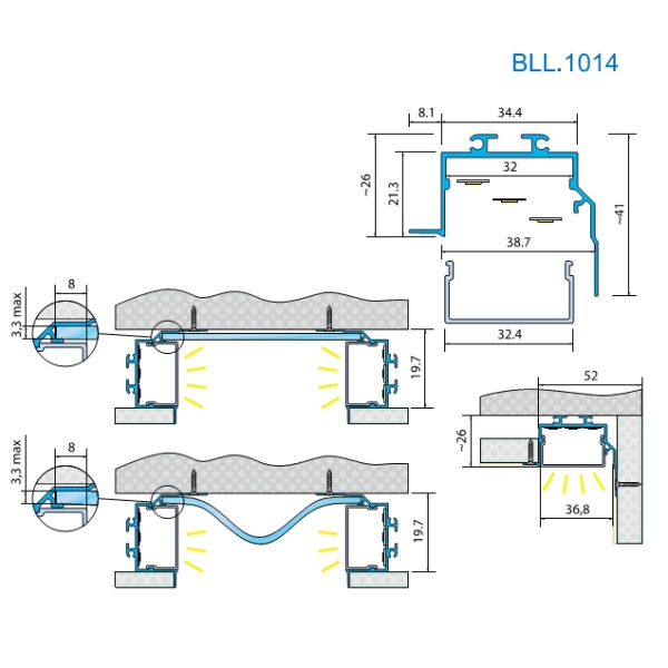 Светодиодный угловой профиль под штукатурку BLL 1014