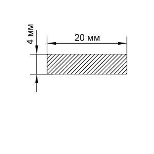 Алюминиевая шина 20х4 мм, анод серебро