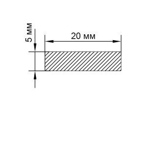 Алюминиевая пластина 20х5 мм, анод серебро
