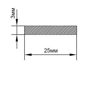 Алюминиевая шина 25х3 мм, анод серебро