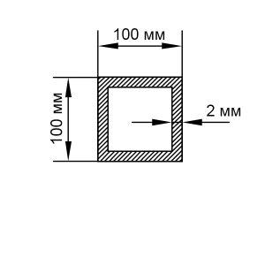 Алюминиевая труба квадратная 100х100х2 мм, без покрытия