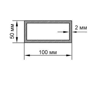 Алюминиевая труба прямоугольная 100х50х2 мм, без покрытия
