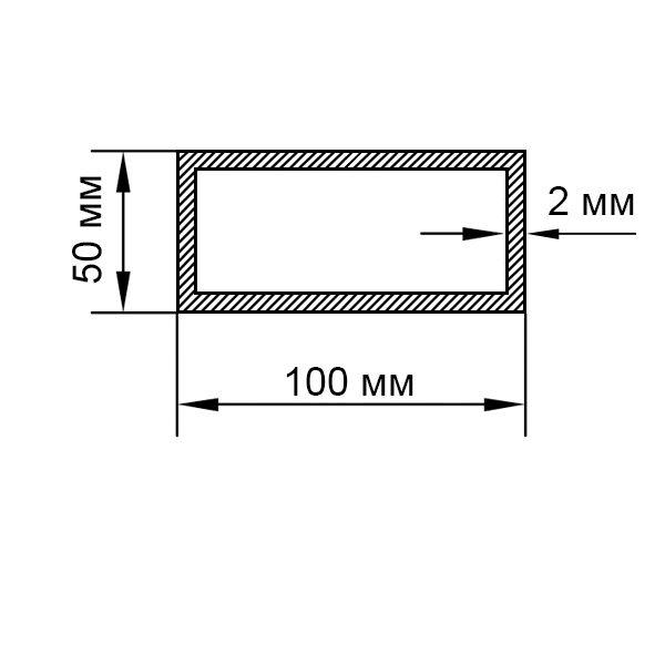 алюминиевая труба прямоугольная 100х50х2