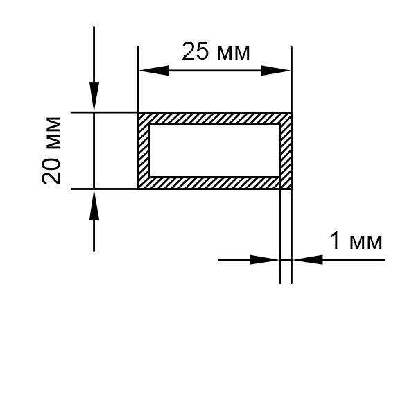 алюминиевая труба прямоугольная 25х20х1