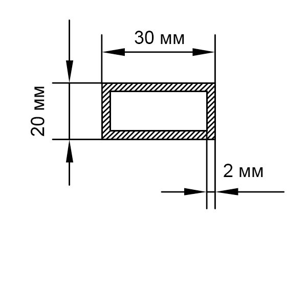алюминиевая труба прямоугольная 30х20х2