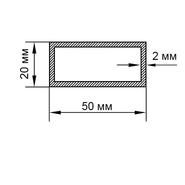 алюминиевая труба прямоугольная 50х20х2