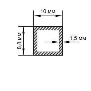 Алюмінієва труба прямокутна 8,8х10х1,5 мм, анод срібло