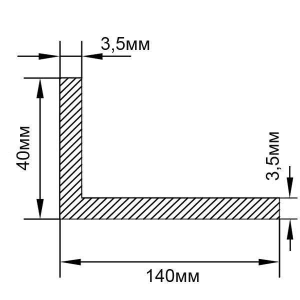 Алюминиевый профиль уголок 140х40х3,5