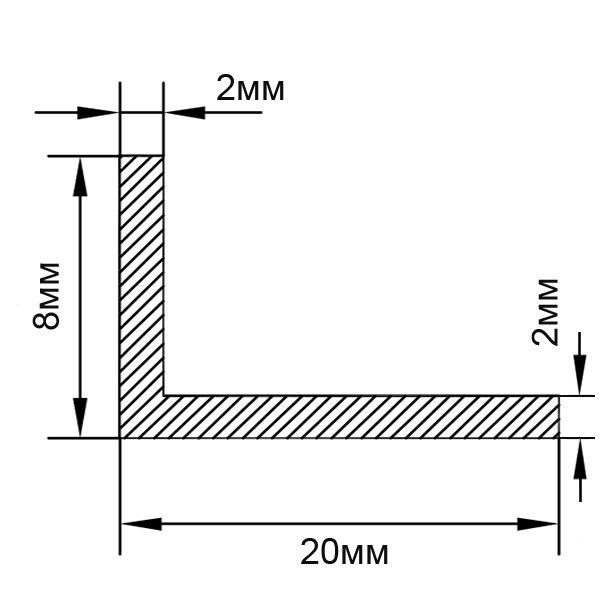 Алюминиевый профиль уголок 20х8х2