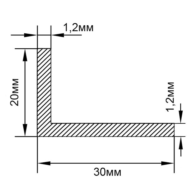 Алюминиевый профиль уголок 30х20х1,2