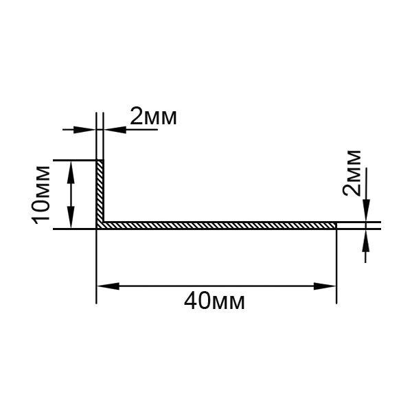 Алюминиевый профиль уголок 40х10х2