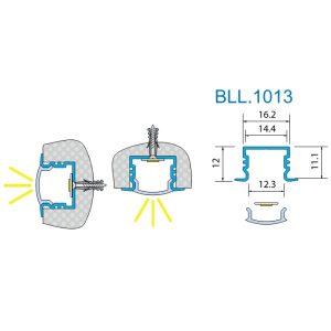 Светодиодный профиль врезной BLL-1013 анод. Длина-2м