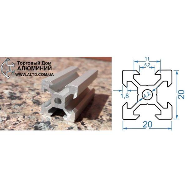 станочный алюминиевый профиль 20х20 V-слот М6
