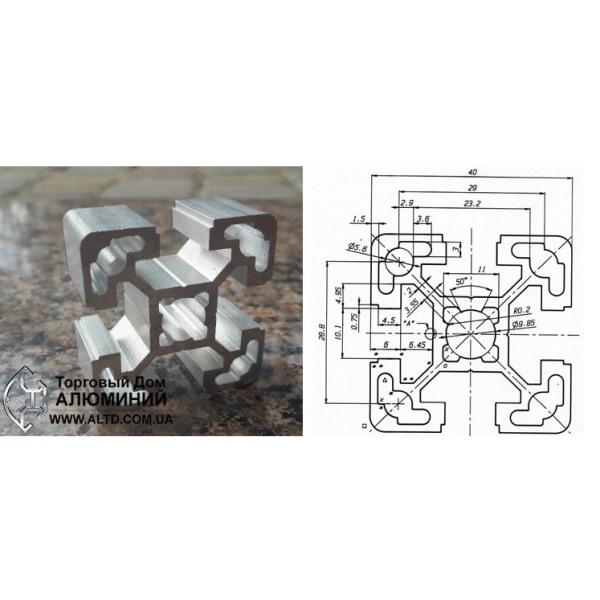 станочный алюминиевый профиль 40x40 Т-слот М10