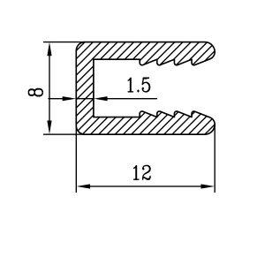 П образный профиль 8х12х1,5 для поликарбоната 4мм / анод серебро