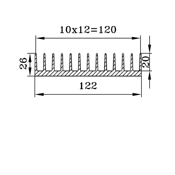 радиаторный профиль 122х26 чертеж