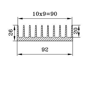 радиаторный профиль 92х26 чертеж