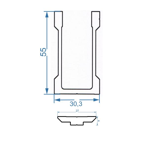 чертеж соединительное крепление алюминиевой трубы 35х35