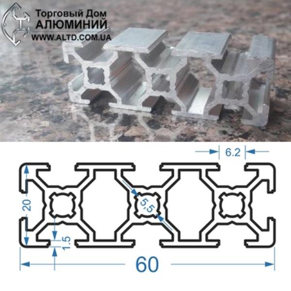 станочный алюминиевый профиль 20х60 Т-слот М6