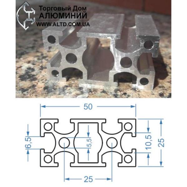 станочный алюминиевый профиль 25х50 Т-слот М6