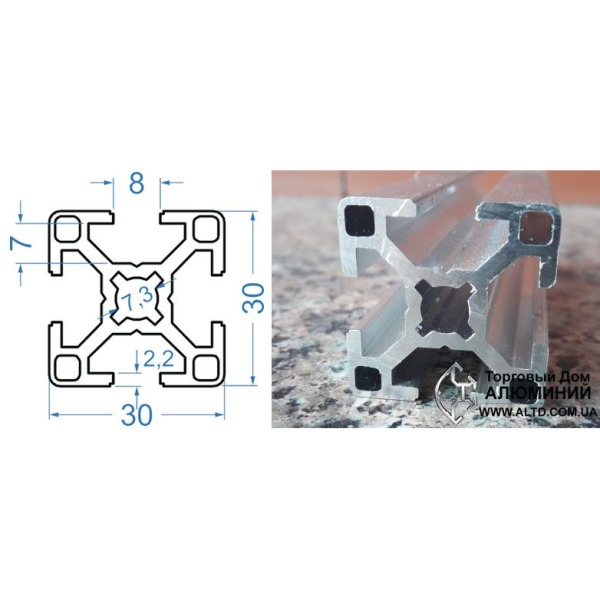станочный алюминиевый профиль 30х30 Т-слот М8