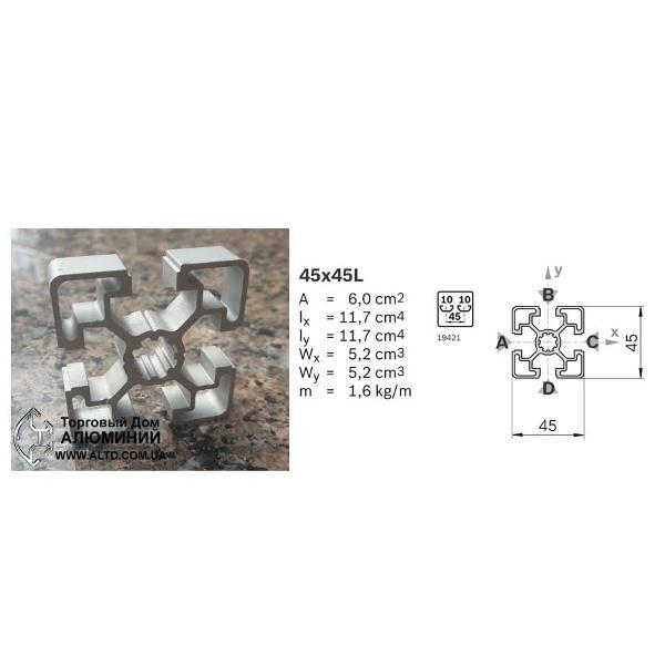 станочный алюминиевый профиль 45x45 Т-слот М10