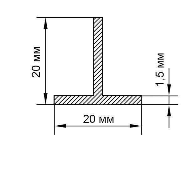 тавр алюминиевый 20х20х1,5