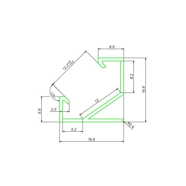 чертеж светодиодный профиль ЛПУ17