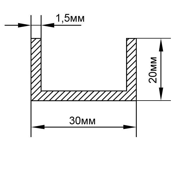 Алюминиевый П-образный швеллер 30х20х1,5