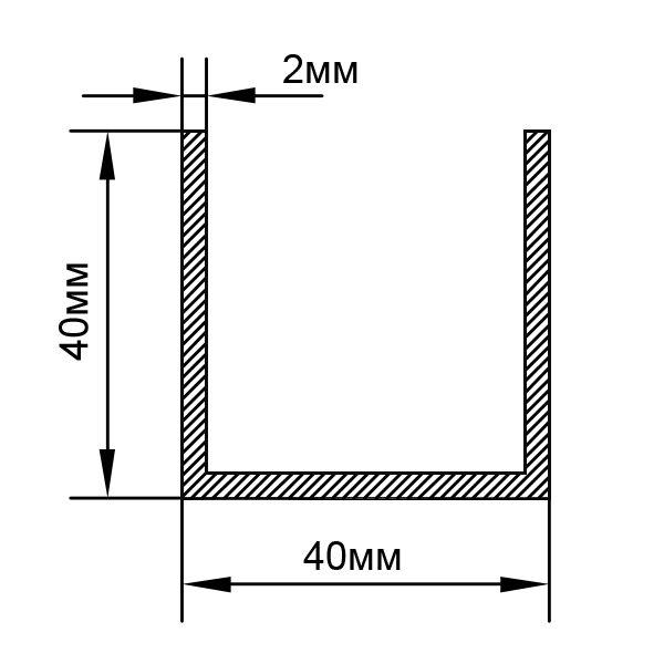 Алюминиевый П-образный швеллер 40х40х2
