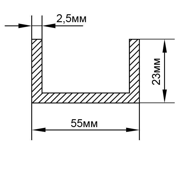 Алюминиевый П-образный швеллер 55х23х2,5