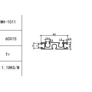 Т-ТРЕК алюминиевый профиль 60х15мм, слот под винт М6