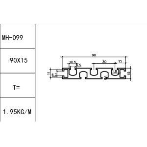 Т-ТРЕК алюминиевый профиль 90х15мм, слот под винт М6