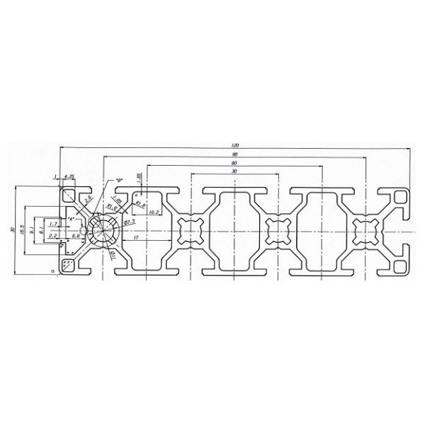 станочный алюминиевый профиль 30х120 Т-слот М8