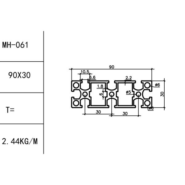 конструкционный алюминиевый профиль 30х90 Т-слот М6