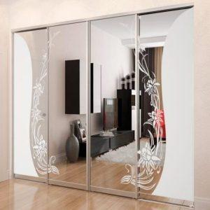 Раздвижная система | Межкомнатные перегородки | Двери зеркало / стекло пескоструй