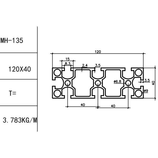 КОНСТРУКЦИОННЫЙ ПРОФИЛЬ 40×120 Т-слот М8 для 3D принтеров и ЧПУ станков