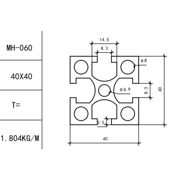 конструкционный алюминиевый профиль 40x40 Т-слот М8