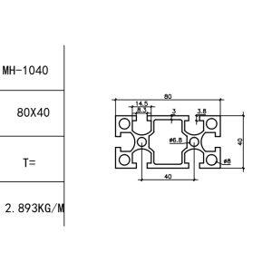 КОНСТРУКЦИОННЫЙ ПРОФИЛЬ 40×80 Т-слот М8 для 3D принтеров и ЧПУ станков