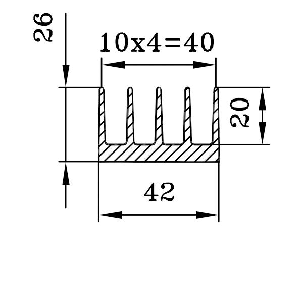 радиаторный профиль 42х26