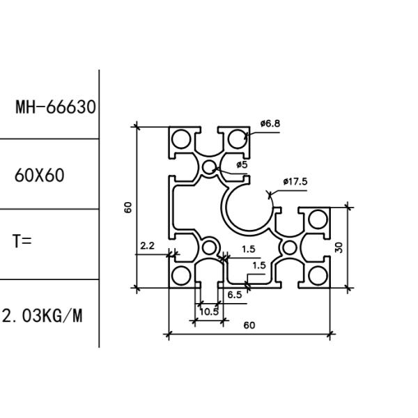 конструкционный алюминиевый профиль 30/60х60 Т-слот М6
