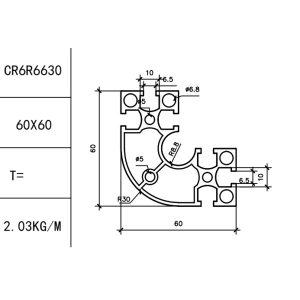 КОНСТРУКЦИОННЫЙ ПРОФИЛЬ 30/60×60R Т-слот М6 для 3D принтеров и ЧПУ станков
