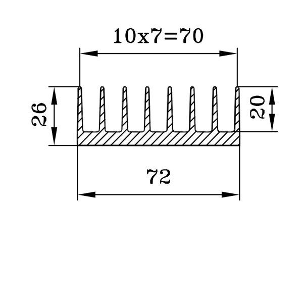 радиаторный профиль 72х26