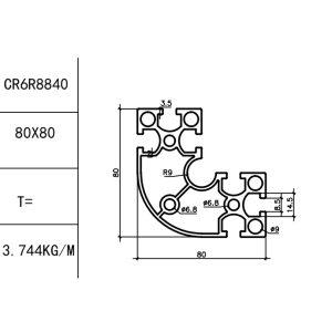 КОНСТРУКЦИОННЫЙ ПРОФИЛЬ 40/80x80R Т-слот М8 для 3D принтеров и ЧПУ станков