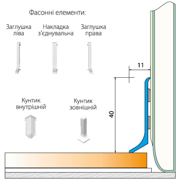 Плинтус алюминиевый 40мм