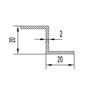 Z профиль алюминиевый 20х20х20х2 без покрытия