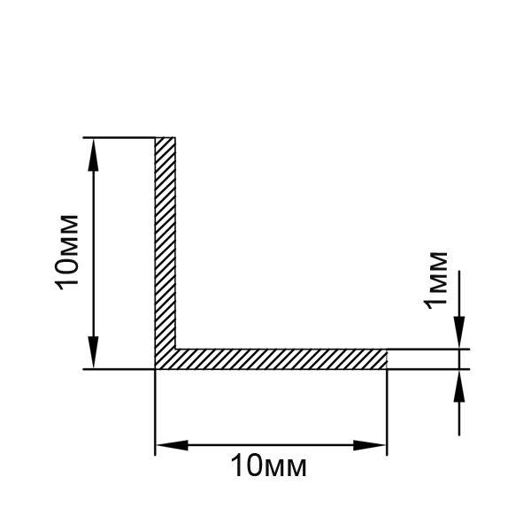 Алюминиевый профиль уголок 10х10х1