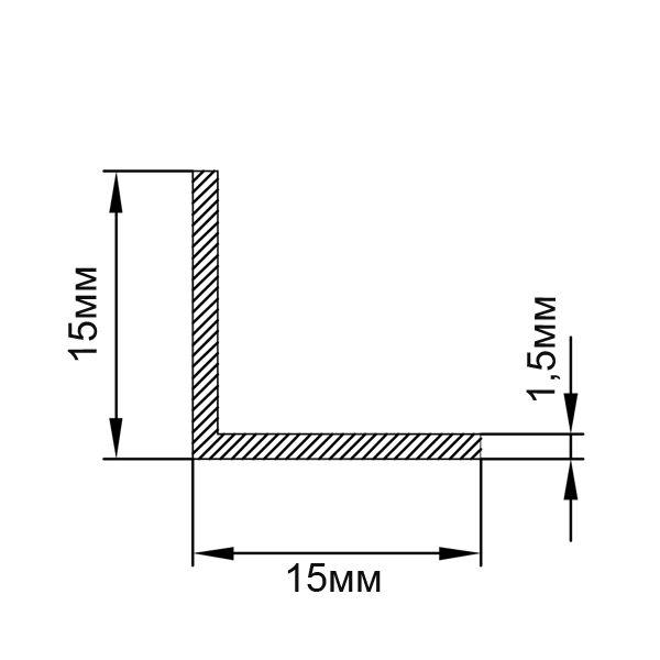 Алюминиевый профиль уголок 15х15х1,5
